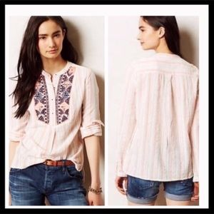 Anthro Holding Horses Mesa Embroidered Popover